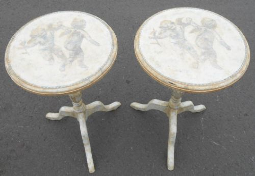 Pair Painted & Decorated Tripod Wine Tables